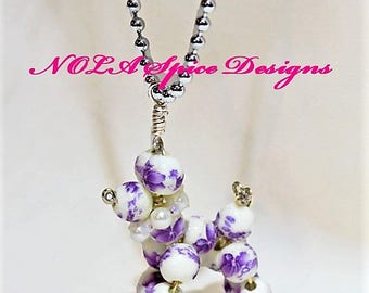 Mardi Gras Purple Flower Bead Dog Necklace New Orleans Balloon Dog