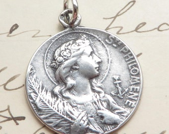 Sterling Silver St Philomena Medal - Patron of babies & infertility - Antique Replica