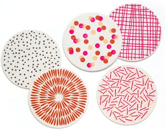 Letterpress Coaster Set | Pink Pattern | Set of 10