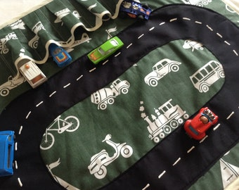 Car Roll Play Mat, roll up for convenient storage boys toys, travel organizer, Dinky toy car storage SHIPPING INCLUDED.