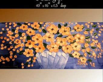 "SALE SALEOriginal  40"" abstract oil/mixd media painting on deep  gallery  canvas Flower Basket  by Nicolette Vaughan Horner"