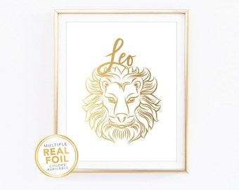Leo Zodiac Sign Constellation - Gold foil print, Real Foil Print, Home Decor, Wall Art, Gallery wall 4x6 5x7 8x10 8.5x11
