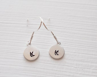 Custom Hand Stamped Minimal Silver Initial Earrings Customize-able Jewelry
