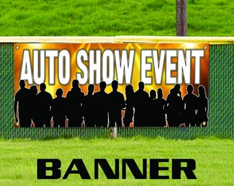 Auto Show Event! Cars And Bikes Riding Advertising Banner Sign