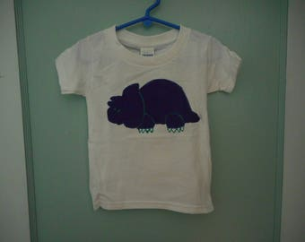 2 TODDLER white T shirt with purple dinosaur applique hand painted