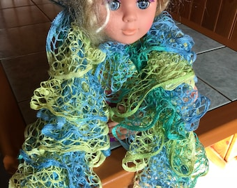 Handmade large blue nets and lime - scarf