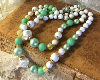 So Sweet Green Yellow White Lucite Bead Double Strand Necklace Unsigned 1950's 1960's Multi Strand Necklace Gold Tone Bead Caps Hook