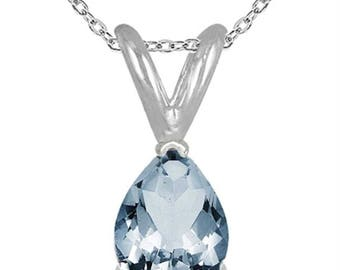 0.70Ct Pear Aquamarine Pendant