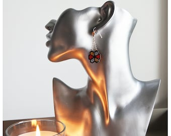 Flower earring black, gold, silver and Red