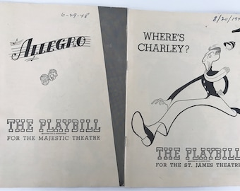 Vintage 1940s Playbills Allegro Where's Charley? New York Theatre-1940-Broadway Majestic Theatre Memorabilia Vintage Ads Tobacciana Theater