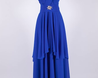 by Yantar  Long Prom Dress, Prom Dress 207 Straps Prom Dress, Royal Blue Prom Dress, Chiffon Prom Dress, Backless Prom Dress bohem dress