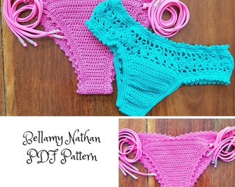"Crochet Bikini Bottoms PDF Patterns ""Aphrodite & Tigerlily"" Scrunch Butt and Brazilian Styles Size XS - L"