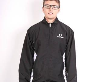 Fred Perrry Mens L Jacket Track Top Sport Black Vintage