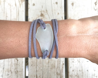 Light Blue Sea Glass and Gray Leather Wrap Bracelet