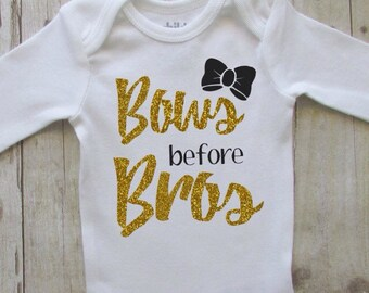 bows before bros baby girl clothes - bows before bros baby glitter bodysuit - baby shower gift ideas for girls - glitter bow baby shirt