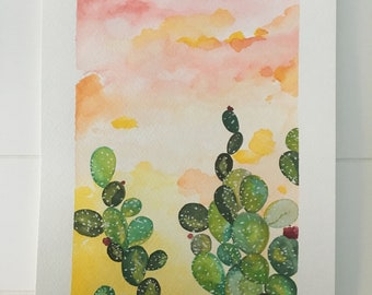 Original art - watercolor on paper - western sunset painting with cactus