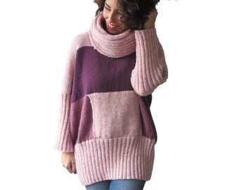 NEW! Pink Tones Hand Knitted Sweater with Accordion Hood and Pocket Plus Size Over Size Tunic - Dress Sweater by Afra