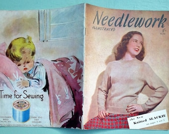 Vintage 1940s Sewing  Knitting Magazine - Needlework Illustrated No. 191 1948 UK - 40s knitting patterns women's New Look fashion embroidery