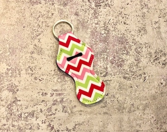 green pink red Chapstick holder | chevron zig zag chapstick case | Chap stick | Lip Balm | Neoprene chapstick holder | Key chain Purse charm