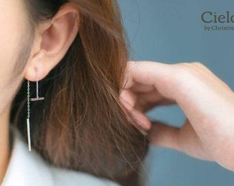 Double Bar Drop Sterling Silver Earrings • Threader Earrings • Unique Earrings • Bar Earrings • Long Earrings • Minimalist •  Simple Earring