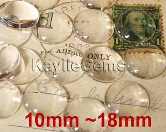Round Clear Glass Cabochon Cab Dome 10mm, 12mm, 14mm, 15mm, 16mm, 18mm - Pick Sizes