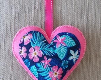 Handmade Hawaiian /Tropical pink felt heart door hanging decoration