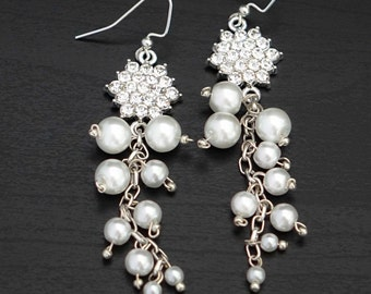 Wedding Pearl Earrings, Bridal Cascade Earrings , Dangle Wedding Earrings, Wedding Jewelry