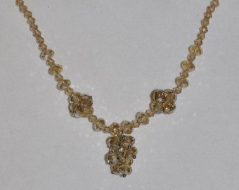 Necklace Iridescent Golden Crystal #474 One Of A Kind