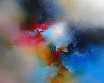Large Abstract Colour-burst Painting by Artist Simon Kenny 'A Place For All Things'