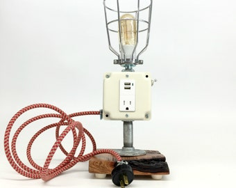 Industrial Lamp, Cell Phone Charger, Charging Station, iPhone Charger, Desk Lamp Industrial, Cell Phone Charger Lamp, Retro Desk Lamp