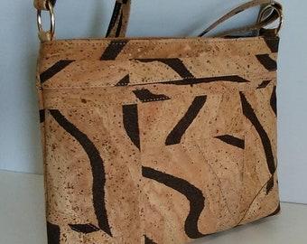 Cork Handbag with Designs - Shoulder Cork Bag - Fine Natural Cork Women Purse - Gift for Her