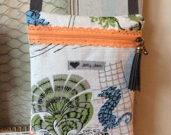 Vintage barkcloth fabric festi bag purse - seahorse