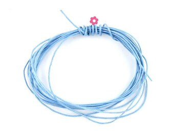 5 m cord light blue waxed cotton thread 1 mm (60 to)