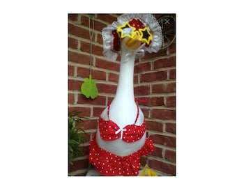 Goose Clothing  - Bikini's YOUR CHOICE of Red, Blue, Orange, Yellow, Purple or Pink Polka Dot Swim suits your Plastic or Concrete Lawn Goose