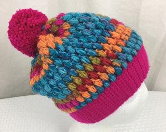 Crochet Puff Stitch Beanie, Baby, Child, Adult Size Slouch Beanie- Hat, Ski, Kaleidoscope, Hot Pink