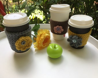 Coffee cup cozy ,beverage sleeve, tea cup cozy, coffee cup sleeve, stocking stuffers,Christmas  gifts, set of 3