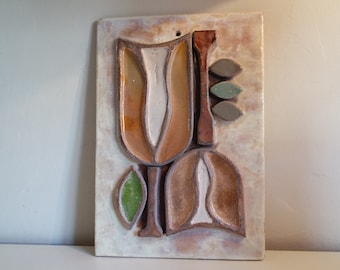 Vintage 60s Raymond CORROYEZ decorative ceramic tile/plate