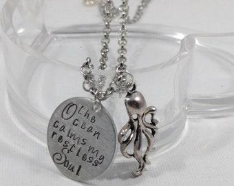 Ocean Lover Gift, Ocean Calms, Restless Soul, Gift for friend, Gift for Beach Lover, Octopus Necklace, Octopus Bracelet, Octopus Keychain