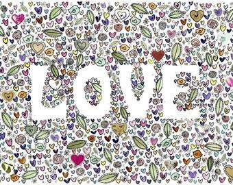 Love (orginal) A4 print Mounted
