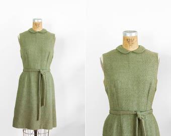 1960s Dress - 60s Dress - Olive Green Sleeveless Boucle Wool Day Dress
