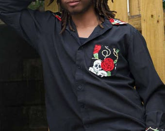 skull and roses man's large  button down dress shirt stage wear rocker Its Me Designs up-cycled echo-friendly tattoo goth hipster macabre