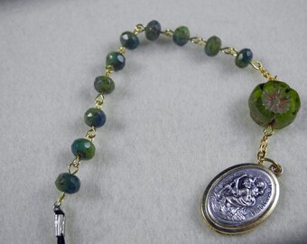 1 Decade Travel Charm with Blue/Green Czech Glass Beads with a Green Flower Bead