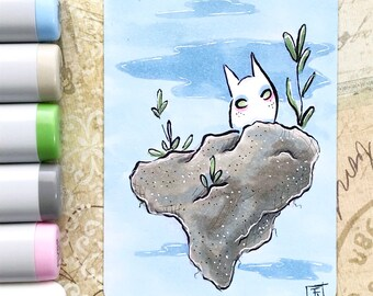 Floating Island Totoro - nature spirit - Original ACEO hand drawn, copic illustration, Artist Trading Card, Sketchcard 2.5 x 3.5 inches