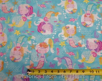 Mermaid Wishes Turtles Seahorses Starfish on Turquoise BY YARDS Northcott Fabric