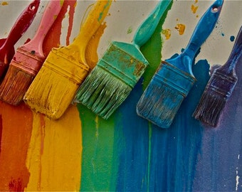 Rainbow brushes red yellow blue green wall paint brushes photograph primrary colors wall art Greece  Greek  Travel