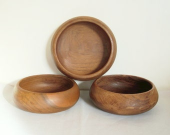 3 vintage wooden bowls, Bol en bois, Bowl, 1960s, Café au lait, Rustic, Danish, Scandinave, Farm house, Retro kitchen