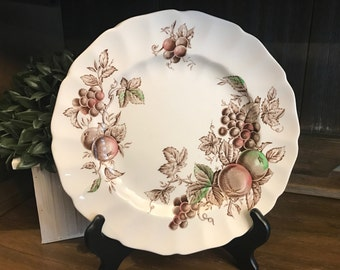 5 Pieces - Includes Set of 3 Johnson Bros Hand Engraved Dinner Plates And 1 Saucer In Harvest Time Plus 1 Dinner Plate In Autumns Delight