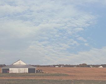 Farm Color Photo Print { barn, white, field, brown, corn, blue, landscape, sky, clouds, wall art, macro, nature & fine art photography }