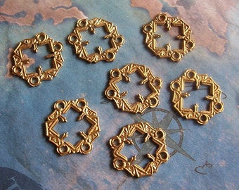 2 PC Gothic / Victorian Raw Brass Pronged Link Finding -  E0118