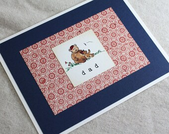 Birthday Card for Dad or Happy Fathers Day. With Son Cute Bear Handmade Card